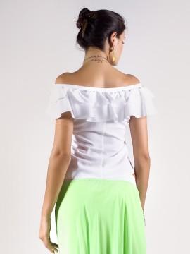 Бяла блуза с паднали рамене