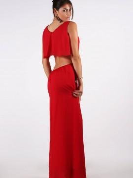 Дълга червена рокля