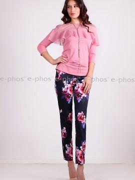 Дамска блузка с 3/4 ръкав и волан от тюл на ситни точки
