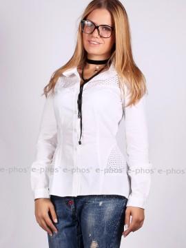 Стилна дамска риза от памучна материя с лазерно рязан мотив
