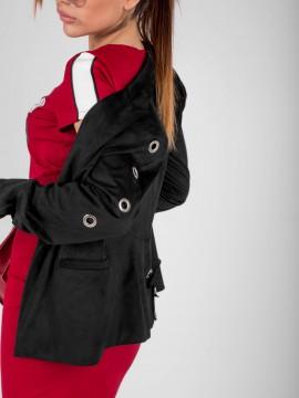 Дамско сако от черен велур с капси