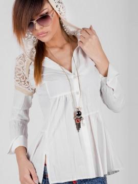 Памучна дамска риза с качулка от дантела