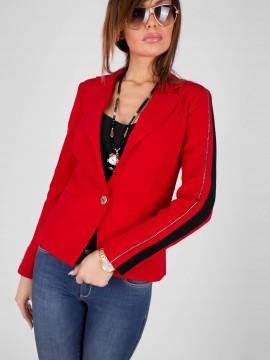 Стилно дамско сако в червен цвят