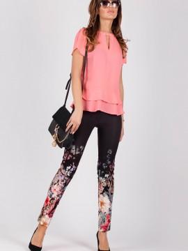 Еластичен дамски панталон с флорален десен