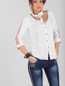 Елегантна дамска риза с асимитрична яка