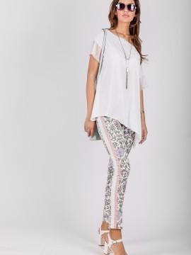 Дамски панталон с флорален принт и кантове