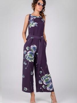 Елегантен дамски гащеризон с принт на цветя в тъмно лилав цвят