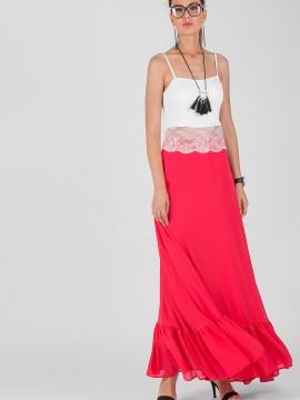 Дълга разкроена дамска пола с висока талия в цвят малина от италиански креп-жоржет
