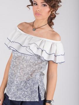 Дамаска памучна блуза с паднали рамене и волани