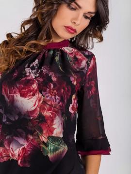Дамска блуза от шифон с 3/4 ръкав