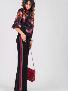Елегантен дамски широк панталон с кантове