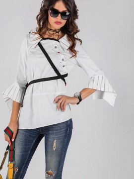 Екстравагантна -асимитрична памучна дамска риза