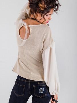 Дамска блуза от златисто плетиво с широки ръкави от шифон
