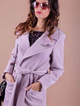 Дамско палто свободен силует с елегантна брошка
