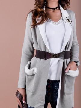 Елегантна дамска жилетка с колан и брошка