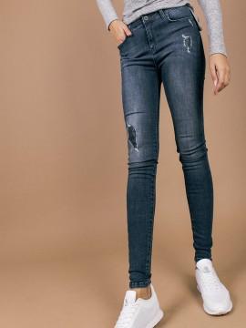 Дамски еластични дънки с висока талия и кръпки с пайети