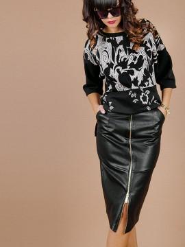 Дамска пола  с метален цип от изкуствена кожа