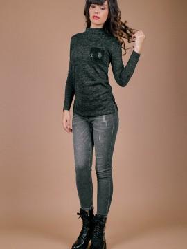 Дамски еластични дънки с нормална талия в сив цвят