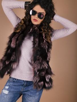 Елек от естествена кожа-сребърна лисица в бордо и черни нюанси