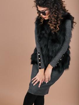 Дамски черен елек от естествена кожа-сребърна лисица