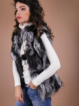 Елек от естествена кожа-сребърна лисица в сиво/черни нюанси