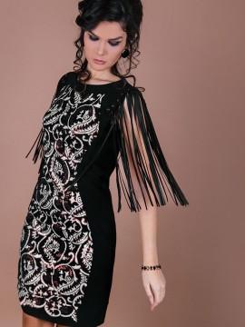 Елегантна рокля с ресни и матирани пайети
