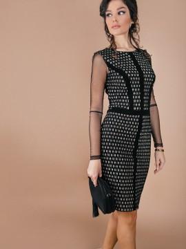 Дамска рокля от плътна еластична дантела със златиста нишка