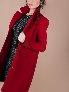 Вталено дамско палто с класически силует в червено