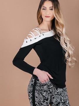 Стилна блуза с открито рамо и връзки