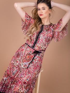 Дамска разкроена рокля от еластична цветена дантела