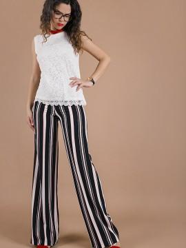 Дамски панталон райе с висока талия