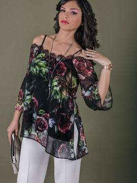 Стилна и женствена дамска  туника с флорален десен
