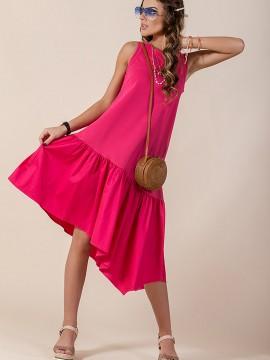 Къса дамска рокля в цвят циклама