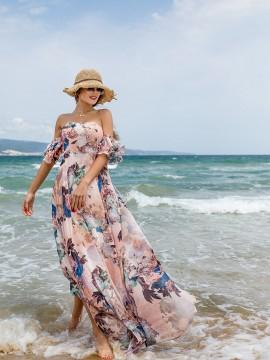 Дълга дамска рокля с флорален принт