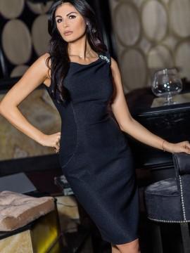 Елегантна дамска рокля в тъмно син цвят