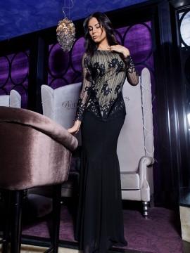 Дълга елегантна рокля с дантела