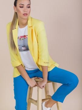 Дамско сако в жълт цвят