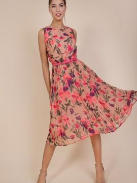 Дамска рокля солей с цветен десен