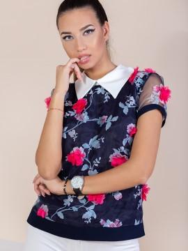 Дамска блуза с 3D цветя
