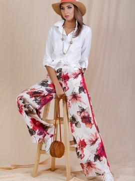 Дамски панталон с десен на цветя
