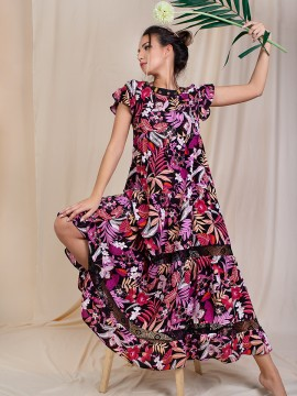 Ефирна дамска рокля в многоцветен  десен