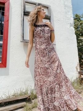 Дълга дамска рокля с животински принт