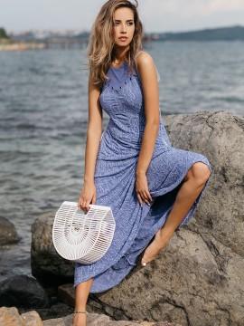 Дълга дамска рокля в синьо