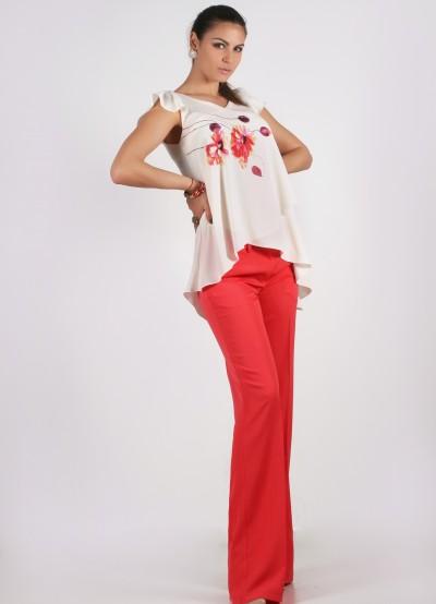 Дълъг коралово/червен панталон