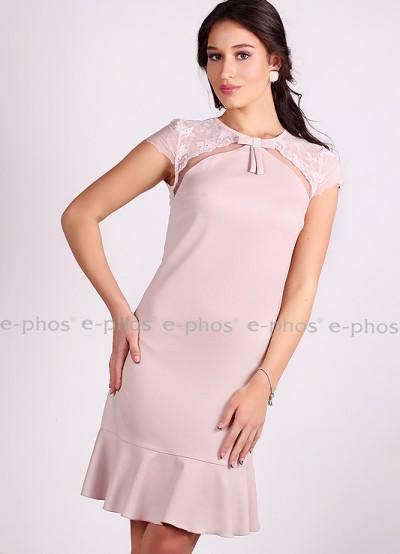 Елегантна дамска рокля в цвят пепелно розово