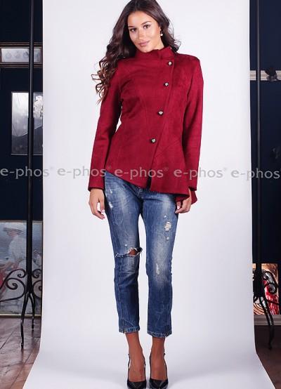 Асимитрично велурено сако в цвят бордо