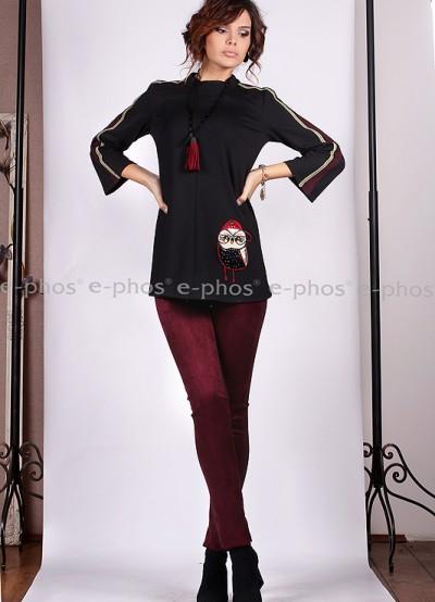 Клин/панталон от велур и плътно трико в цвят бордо