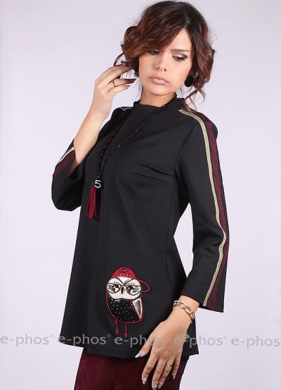 Дамска блуза с апликация 'бухал'