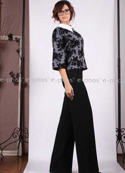 Дамски широк панталон с висока талия