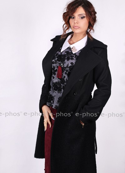 Вълнено двуредно дамско палто тип ''Шанел''